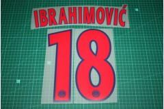 PSG 12/13 #18 IBRAHIMOVIC Champions League Awaykit Nameset Printing