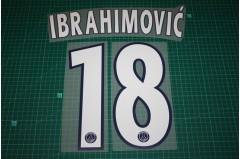 PSG 12/13 #18 IBRAHIMOVIC Champions League 3rd Awaykit Nameset Printing