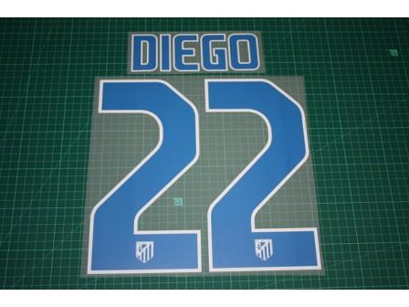Atletico Madrid 11/12 #22 DIEGO Homekit Nameset Printing