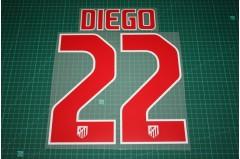 Atletico Madrid 11/12 #22 DIEGO Awaykit Nameset Printing