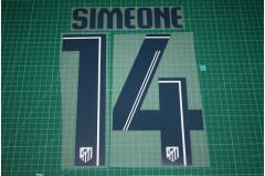 Atletico Madrid 13/14 #14 SIMEONE Awaykit Nameset Printing