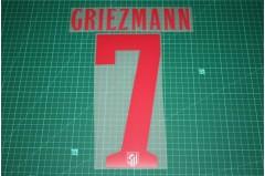 Atletico Madrid 14/15 #7 GRIEZMANN Awaykit Nameset Printing