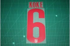 Atletico Madrid 14/15 #6 KOKE Awaykit Nameset Printing