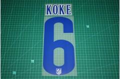 Atletico Madrid 14/15 #6 KOKE Homekit Nameset Printing