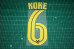 Atletico Madrid 16/17 #6 KOKE Awaykit Nameset Printing