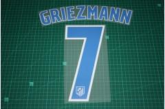 Atletico Madrid 16/17 #7 GRIEZMANN Homekit Nameset Printing