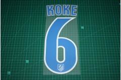 Atletico Madrid 16/17 #6 KOKE Homekit Nameset Printing
