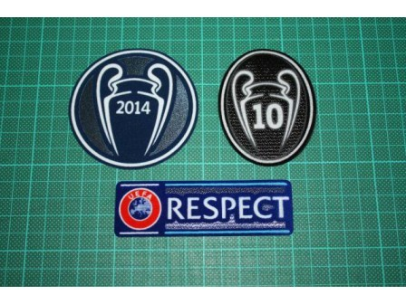 UEFA CHAMPIONS LEAGUE WINNER, RESPECT and 10 TIMES TROPHY BADGES 2014-2015