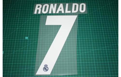 RONALDO #7 2016-2017 Player Size La Liga Blue Home Nameset Real Madrid