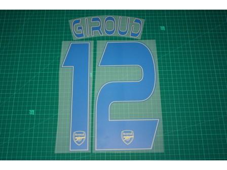 Arsenal 13/14 #12 GIROUD 3rd AwayKit Nameset Printing