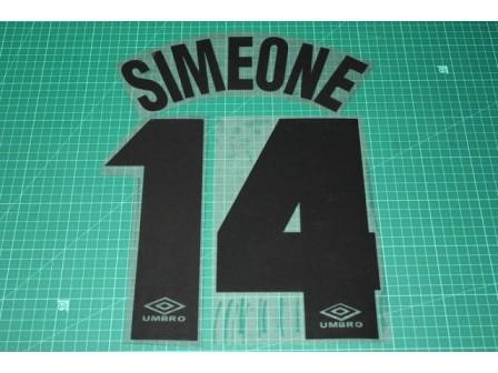 Inter Milan 97/98 #14 SIMEONE Awaykit Nameset Printing