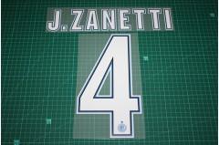 Inter Milan 12/13 #4 J. ZANETTI Homekit / Awaykit Nameset Printing