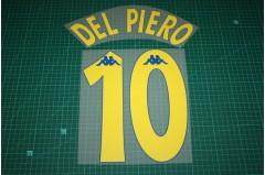 Juventus 97/98 #10 DEL PIERO Awaykit Nameset Printing