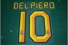 Juventus 10/11 #10 DEL PIERO Homekit Nameset Printing