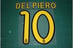 Juventus 09/10 #10 DEL PIERO Homekit Nameset Printing